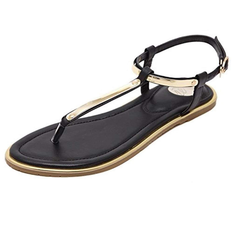 77e25fb2eeba Get Quotations · Shilian Clothing Womens Slingback T-Strap Flat Heel Summer  Flip Flops Ankle Strap Thong Sandals