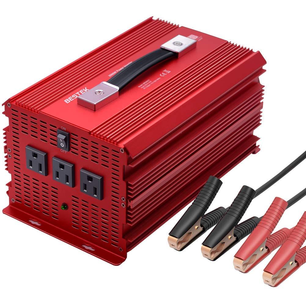 BESTEK 2000 Watt Power Inverter DC 12V to AC 110V Power Converter for Car with 3 AC Outlets, Modified Sine Wave Converter with 4 Car Battery Clamps Car Power Inverter for Powering &Emergency … …