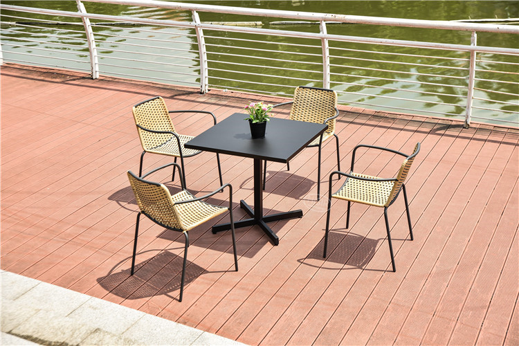 In stock steel dining table  steel line rattan chair garden furniture to philippines