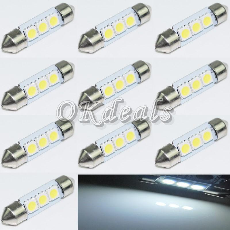10 шт. 36 мм 12 В C5W холодный белый 3 СМД из светодиодов фестона интерьер купол парковка лампы накаливания для автомобили - стайлинг