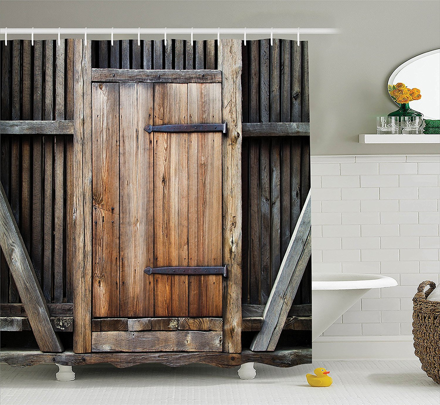 71x71 In Wooden Door Of The Entrance To The Barn Shower
