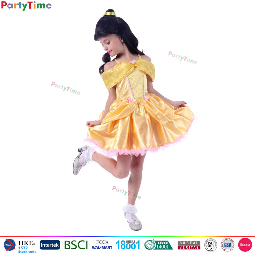 hot selling classical style kids yellow princess dresses carnival party costume festival princess frock design dress