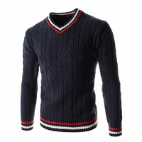 Knitted stylish jumpers men's shrug casual slim splice tops pullover V neck sweater