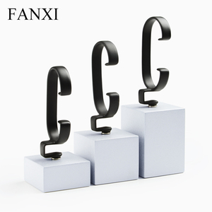 FANXI OEM Popular Stylish Wooden Watch Bangle Jewelry Organizer Stand Props with Bendable Rubber C-ring Watch Display Holder
