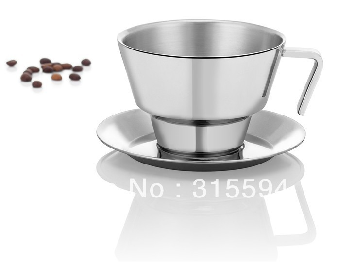 Hot selling!! High quality 250ml Double Wall Stainless Steel Coffee Cup & Saucer G35008S-L