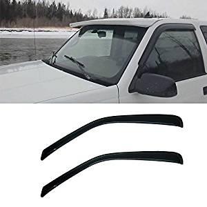 VIOJI 2pcs Front Door Dark Smoke Outside Mount Style Sun Rain Guard Vent Shade Window Visors Fit 96-14 Chevy Express/GMC Savana 1500/2500/3500 Van / 03-09 Kodiak/Topkick C4500/C5500
