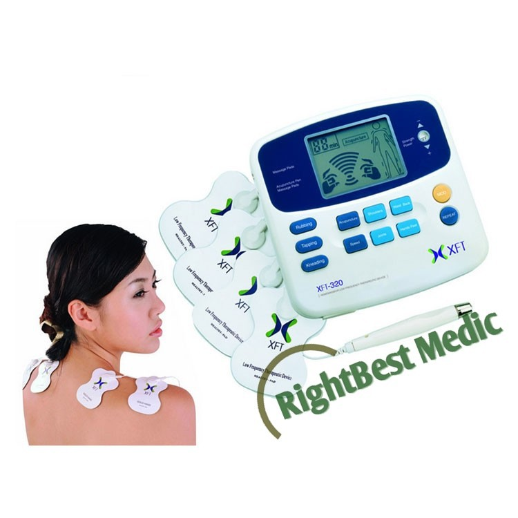 2 channels TENS massager electronic muscle stimulator with accupuncture pen and 4 pcs electrode pads for body massager