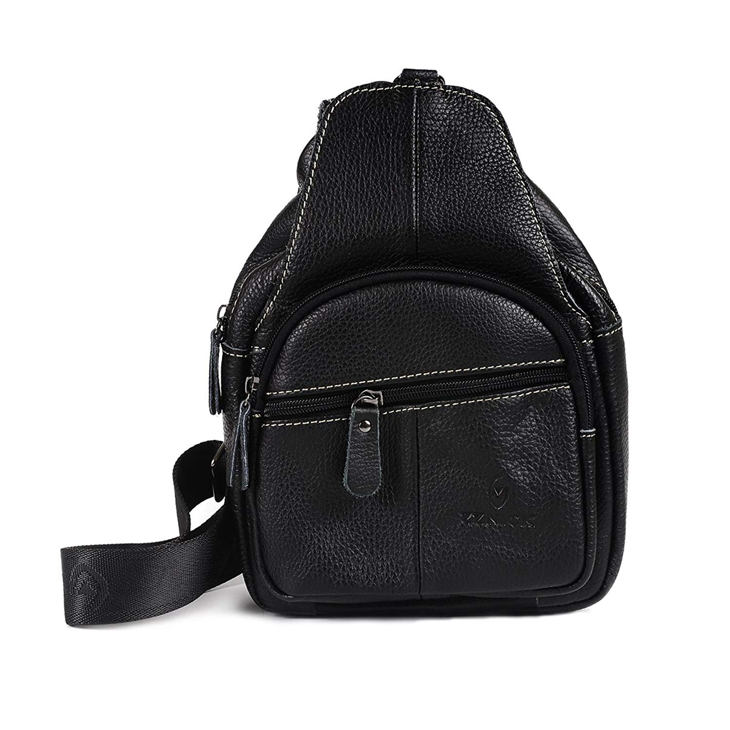 352a89adfd3 Get Quotations · 7Smile Cowhide Leather Sling Bag Chest Shoulder Backpack  Crossbody Bags for Men Women Travel Outdoors