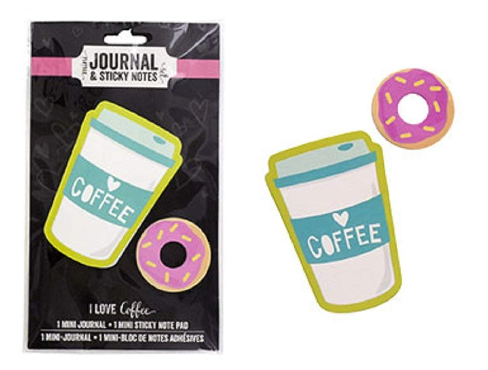 Coffee and Donuts Mini Journal & Sticky Notes Set (Memo Pad Notepad Organize Lists School Work Home) Kawaii Cute Cool