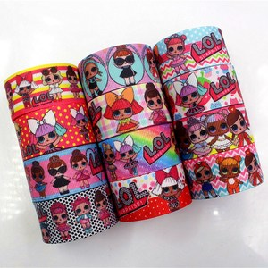 1''25mm high quality LOL cartoon girl foil Printed grosgrain ribbon,solid ribbon + Gift packaging