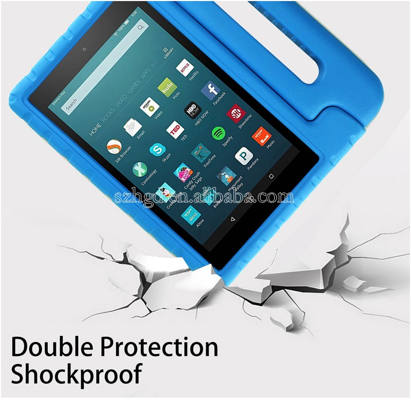 Cute Design Kids Light Weight Convertible Handle Stand Shockproof Case For Amazon Kindle Fire HD 8 2016