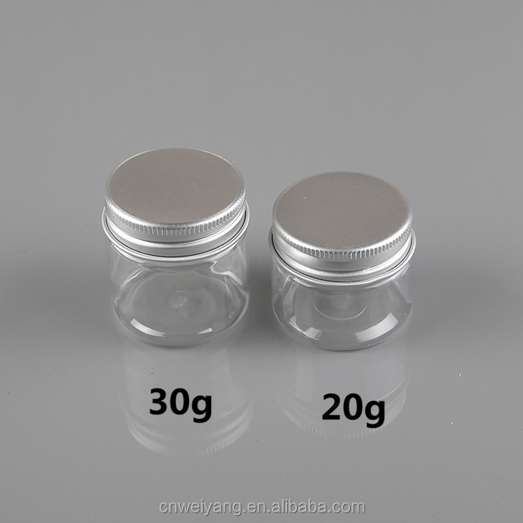 Aluminium cap 20ml 30ml plastic PET cosmetic cream jar/container