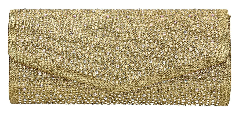 Esther Diamante Glitter Envelope Womens Clutch Bag Party Prom Ladies Bag - SWANKYSWANS