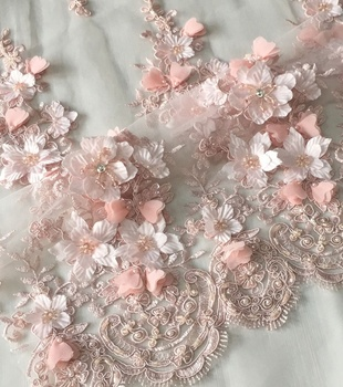 latest fashion 3d flower beaded lace applique embroidered tulle fabric for dress or bridal, high quality dress fabric