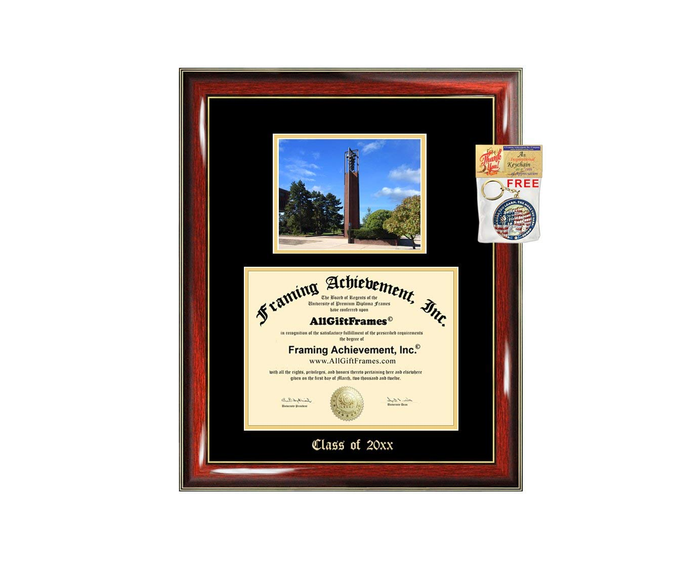 Embossed Diploma Frame with Lithograph Print 8.5 x 11 Linton Hall Campus Images MI988LGED Michigan State University Gold