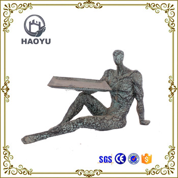 Art And Handicrafts Cast Iron Decorative Man With Tray Business Card Holder