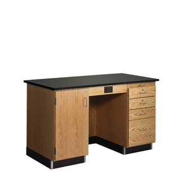 Diversified Woodcrafts 1216KF-R Solid Oak Wood Instructors Desk with Sink on Right, Flat Epoxy Resin Top, 5' Width