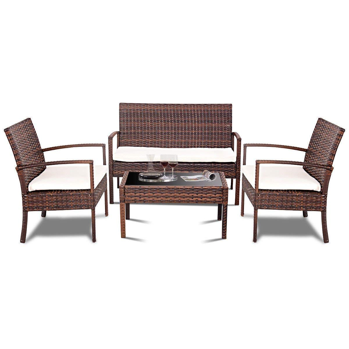 TANGKULA 4 Piece Patio Outdoor Conversation Set with Glass Coffee Table, Loveseat & 2 Cushioned Chairs Garden Lawn Rattan Wicker Patio Chat Set Outdoor Furniture Set (Brown)