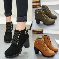 Women Boots Exclusive High Heel Lace Up Ankle Boots Ladies Buckle Platform Shoes