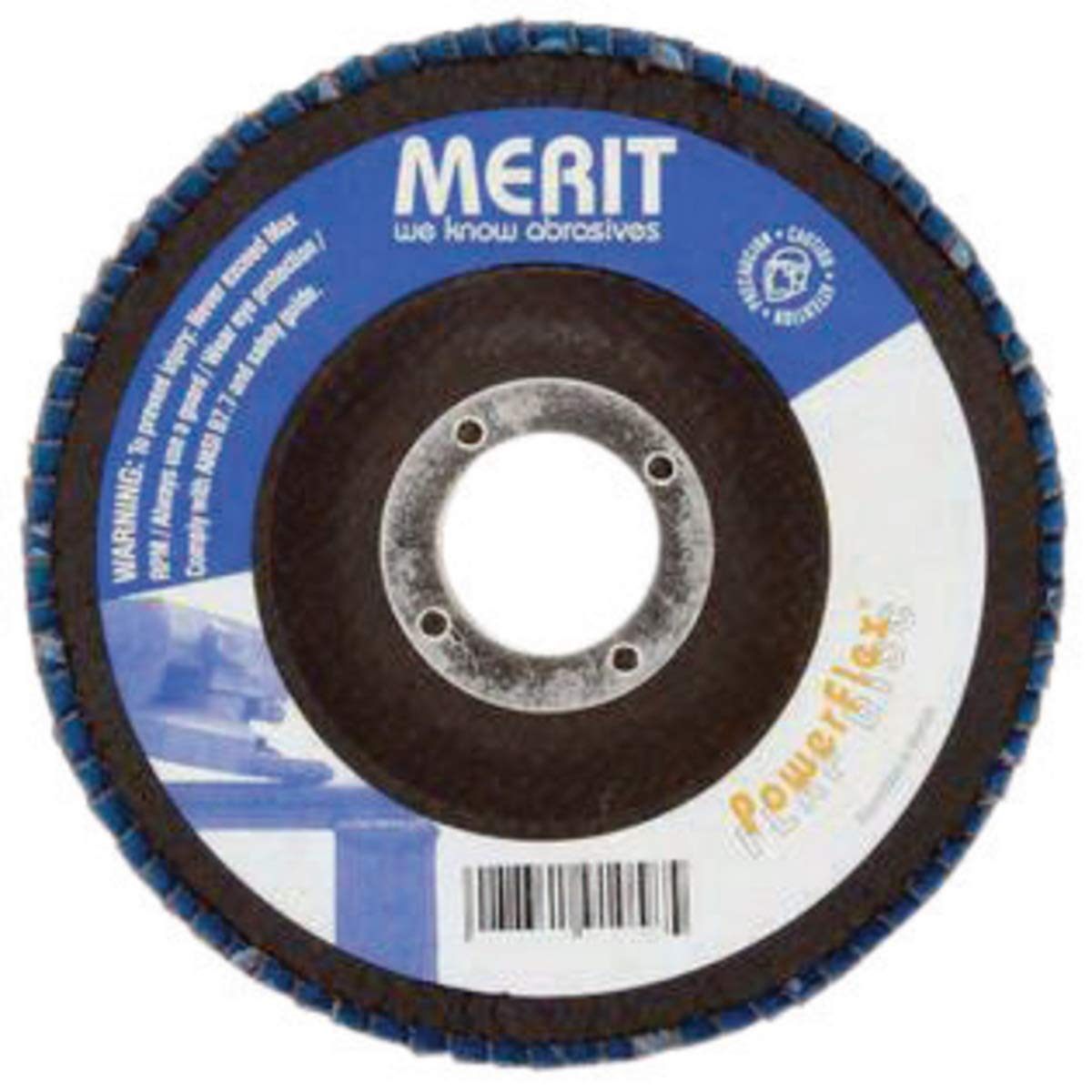 """Merit Abrasives 2"""" 40 Grit POWERFLEX Zirconia Alumina Type 27 Flap Disc With Rubber Backing (For Use With Type II Mini PowerFlex Holder), Pack Quantity - 10"""
