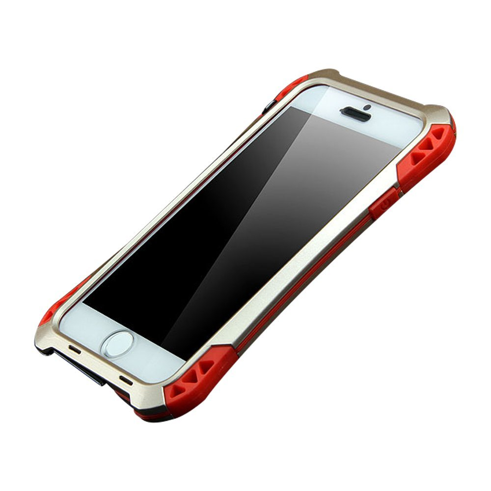 iPhone 6 plus case, Meiya New Waterproof Shockproof Aluminum Gorilla Glass Metal Military Heavy Duty Armor Bumper Cover Case for iPhone 6 Plus 6+, Grollia Glass+Aluminum +Silicon Rubber+Carbon Firber protection case (Gold+Red)