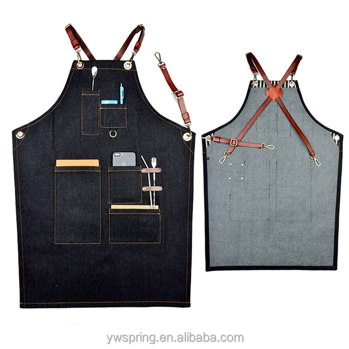 High Quality Personalized logo custom cotton Denim Apron With Leather Trim, Apron for Bar, Coffee Shop