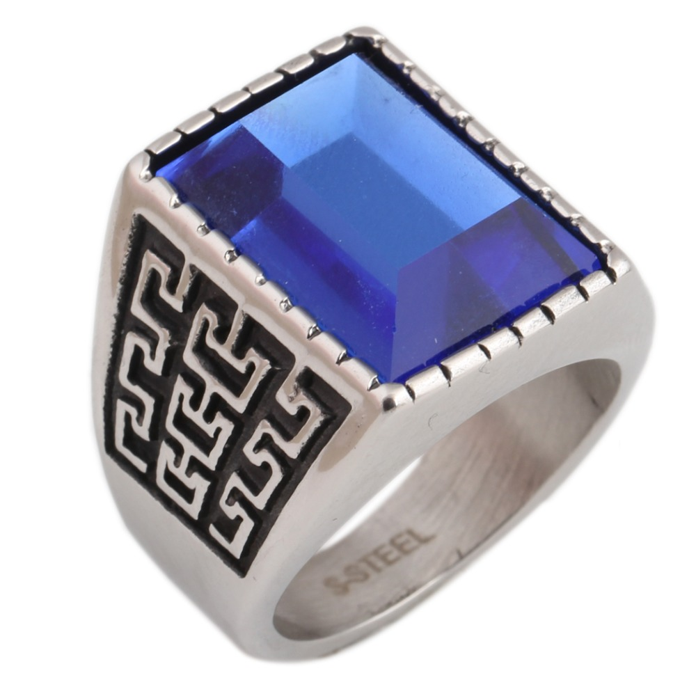 Vintage Stainless Steel Men's Ring redColor Synthetic Glass Wedding Rings Square Shaped Design fashion retro Style <strong>Jewelry</strong>