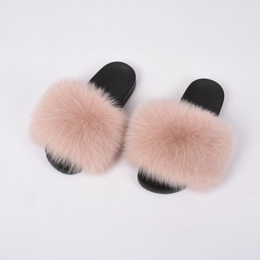 Apparel Accessories Wholesale Luxury Fur Slides On Sale Fox Fur Skin Soft Eva Sole Fur Slippers