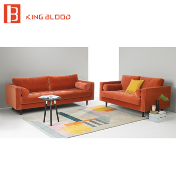 Belgium Modern Orange Velvet Sofa Sets For Living Room