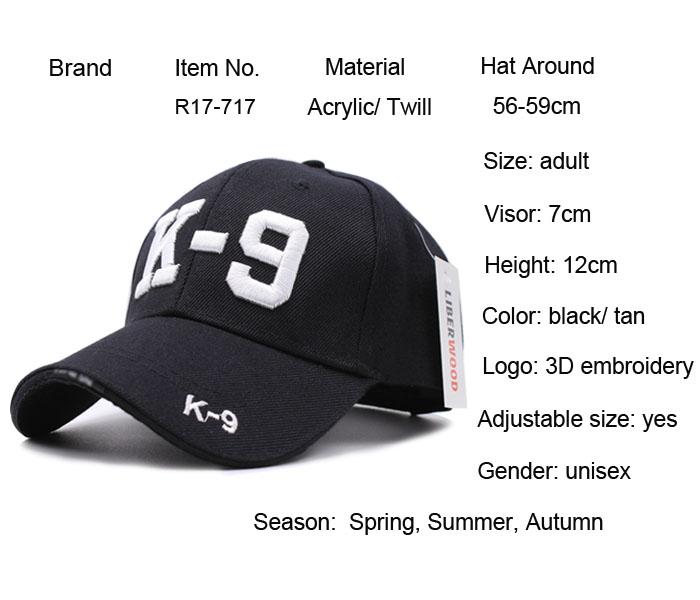 3D Embroidered K9 Dog Police Officer Cops K-9 SERVICE DOG Baseball Cap Caps MEN Hat Hats Adjustable cap police man cap hat