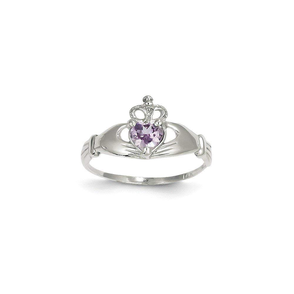 Roy Rose Jewelry 14K White Gold CZ June Birthstone Claddagh Heart Ring - Size: 7