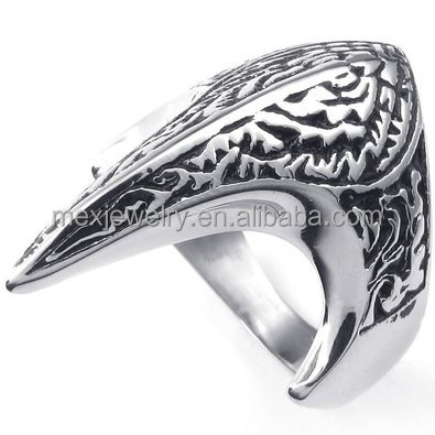 Stainless Steel Black Silver Men's Bands Phoenix Fire Bird Rings