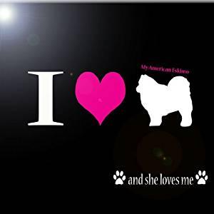 "Rikki Knight RK-8intilec-8482 8"" X 8"" I Love My American Eskimo Dog Design Ceramic Art Tile"