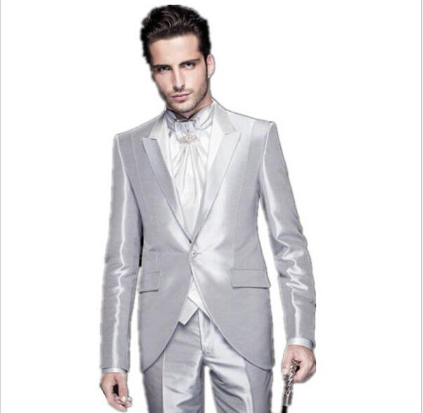 e3dd496f4e Get Quotations · New customize bright silver / wedding suits tuxedo mens  best grooms suits two piece suit Suit