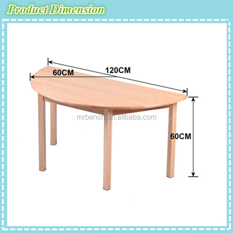 Nice Quality Nursery School Furniture,beech Wood Children Study Table,.semicircle  Table And