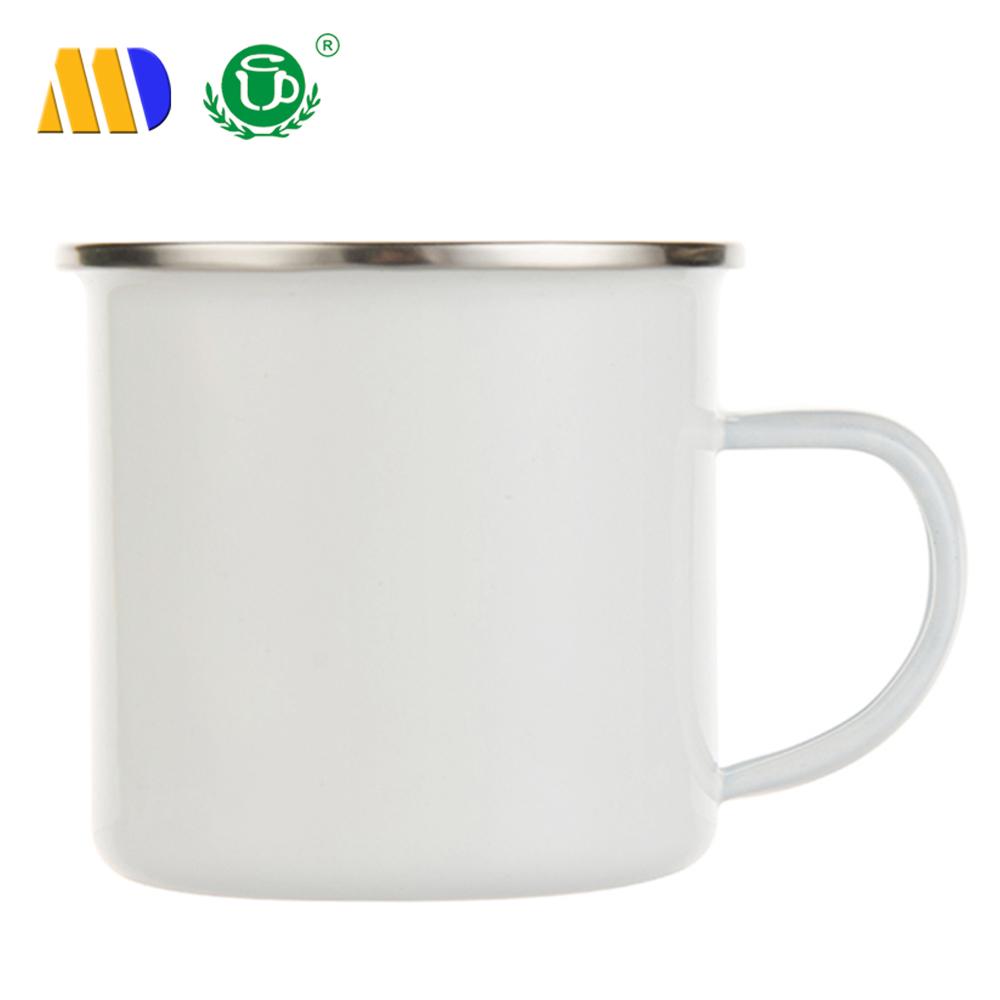 1063b2cfea9 MIDA wholesale silver rim enamel coffee mug blank sublimation metal enamel  mug