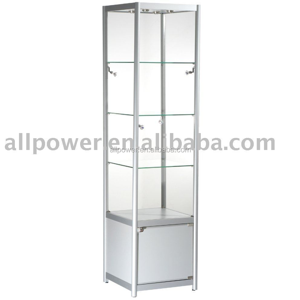 Portable Tempered Glass Shelving Led Lights Jewelry Showcase