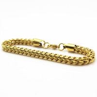 18K gold plated stainless steel franco chain design men 6mm jewelry gold bracelets