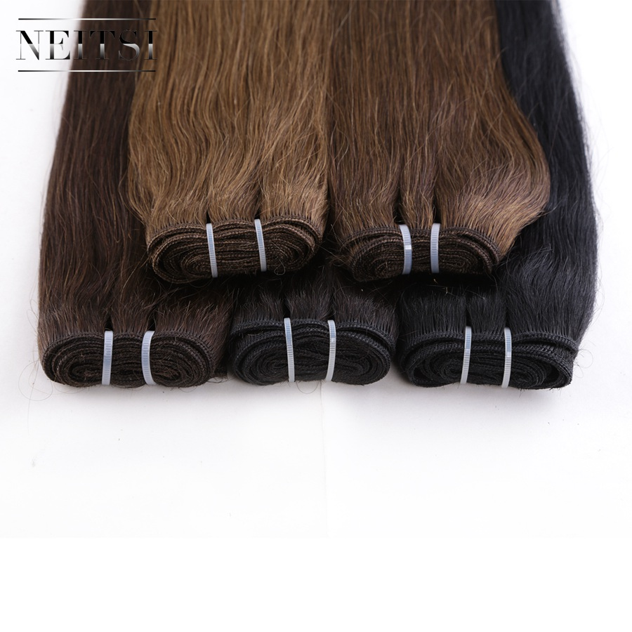 Free Sample Neitsi Pu Weft Hair <strong>Human</strong> Weft Hair Extensions Straight Hair Weft 100 <strong>human</strong> 24Inch