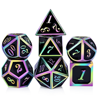 Colorful DND Metal Dice Set, Factory Wholesale Black with Rainbow Number Metal DND Dice
