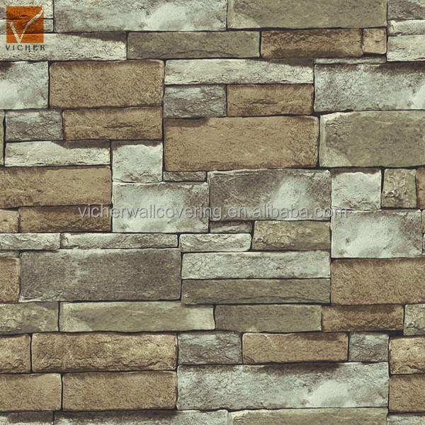 3d populaire naturel pierre wallpaperbrick conception for Type de revetement mural