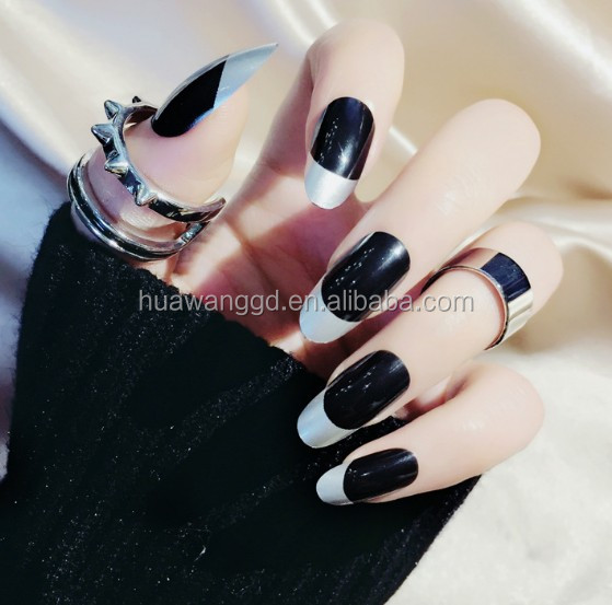 Silver Edge Black French Long Round Artificia Fingernails Stiletto ...