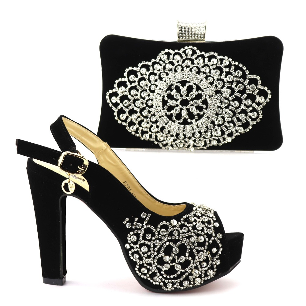 Italian Ladies <strong>Shoe</strong> and Bag Set Decorated with Rhinestone Nigerian Women Wedding <strong>Shoe</strong> and Bag Set Nigerian Party <strong>Shoes</strong>