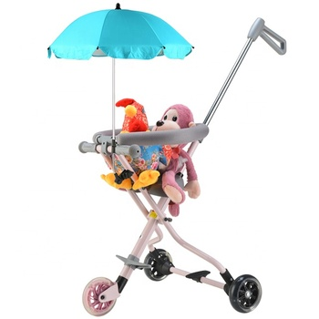 New luxury 3 wheel kids ride on car folding baby push car with umbrella