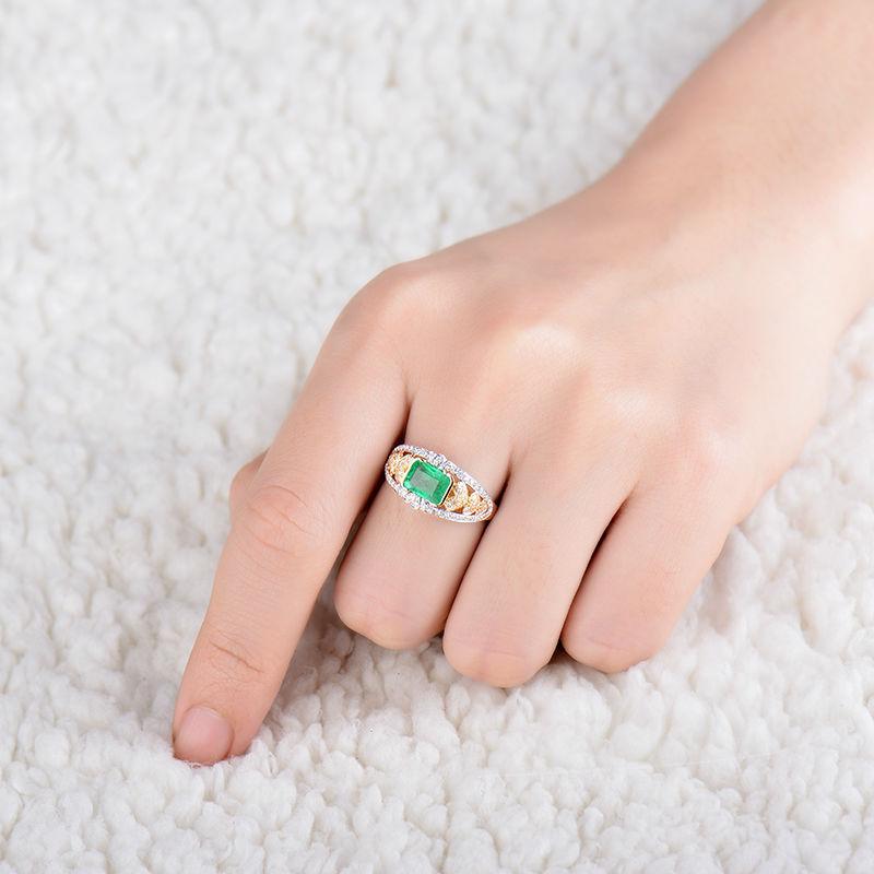 New-design-gold-finger-ring 5x7mm emerald cut natural emerald 18K ...
