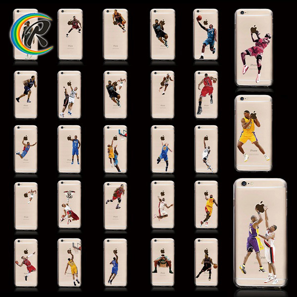 crystal transparent NBA Kobe Jordan anti-gravity phone case/cover/shell with selfie sticky for iPhone 6 waterproof phone case