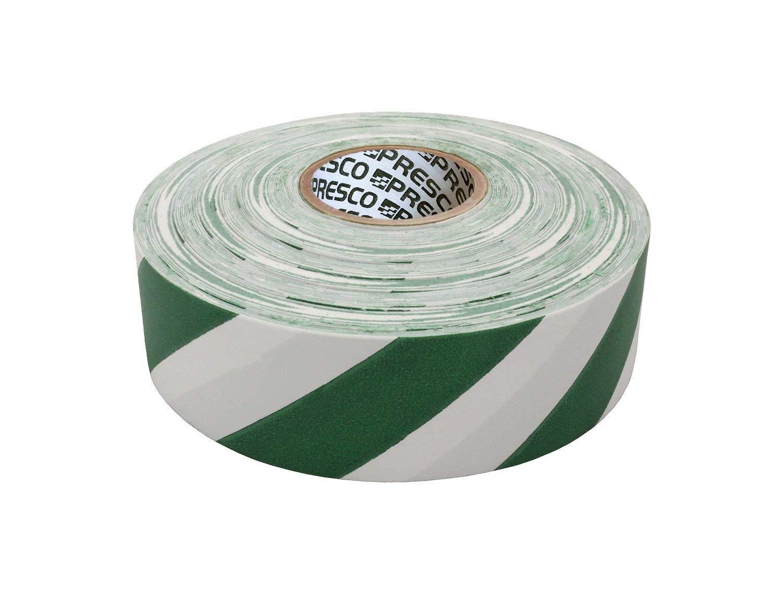 "Presco SWG 1-3/16"" x 300' White/Green Stripe PVC Flagging Tape, 3.75"" Height, 1.18"" Wide, 3.75"" Length"
