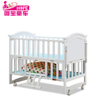 2017 Hope brand solid pine wood material white baby crib bed for new born baby