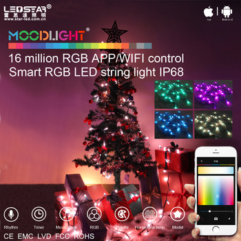 moodlight smart light christmas lights water proof string lights outdoor used by wifi led remote