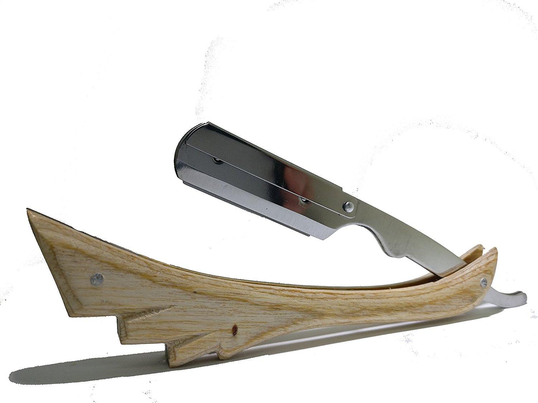 Wooden Straight Razor Natural Wood Color Barbering Razor Cutthroat Razor Shaving Derby Dorco Feather Shaving